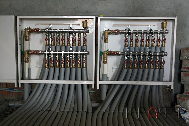 Монтаж отопление частного дома коллектор Oventrop.